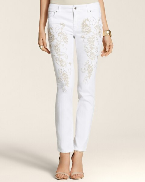 Embroidered  Ankle Jeans in White