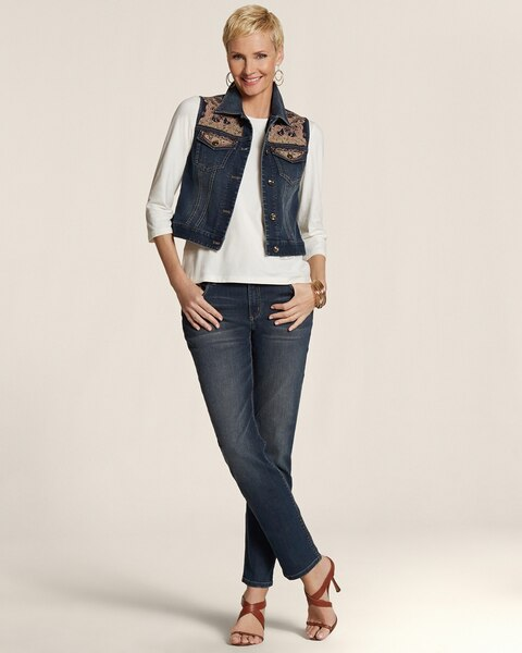 Platinum Denim Lace Details Skimmer