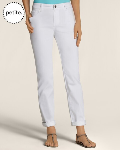 Petite Platinum White Denim Boyfriend Jeans