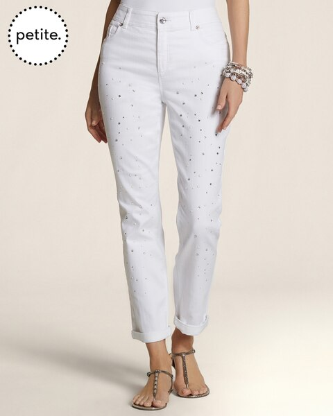 Petite So Slimming By Chico's Pearls and Stones Roll Ankle Jeans
