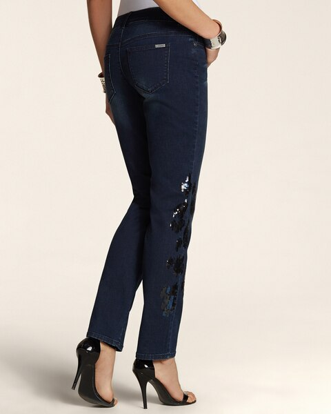 Animal Sequin Ankle Jeans