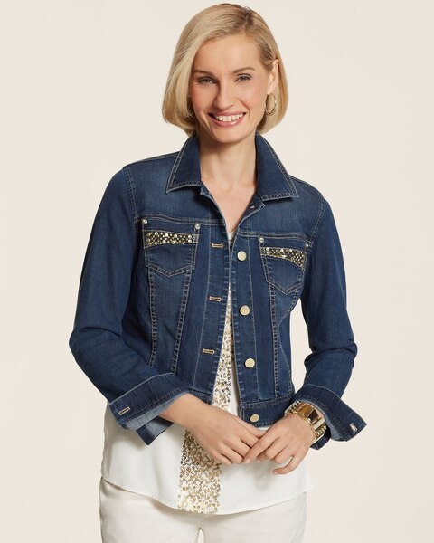 Lattice Embellished Denim Jacket