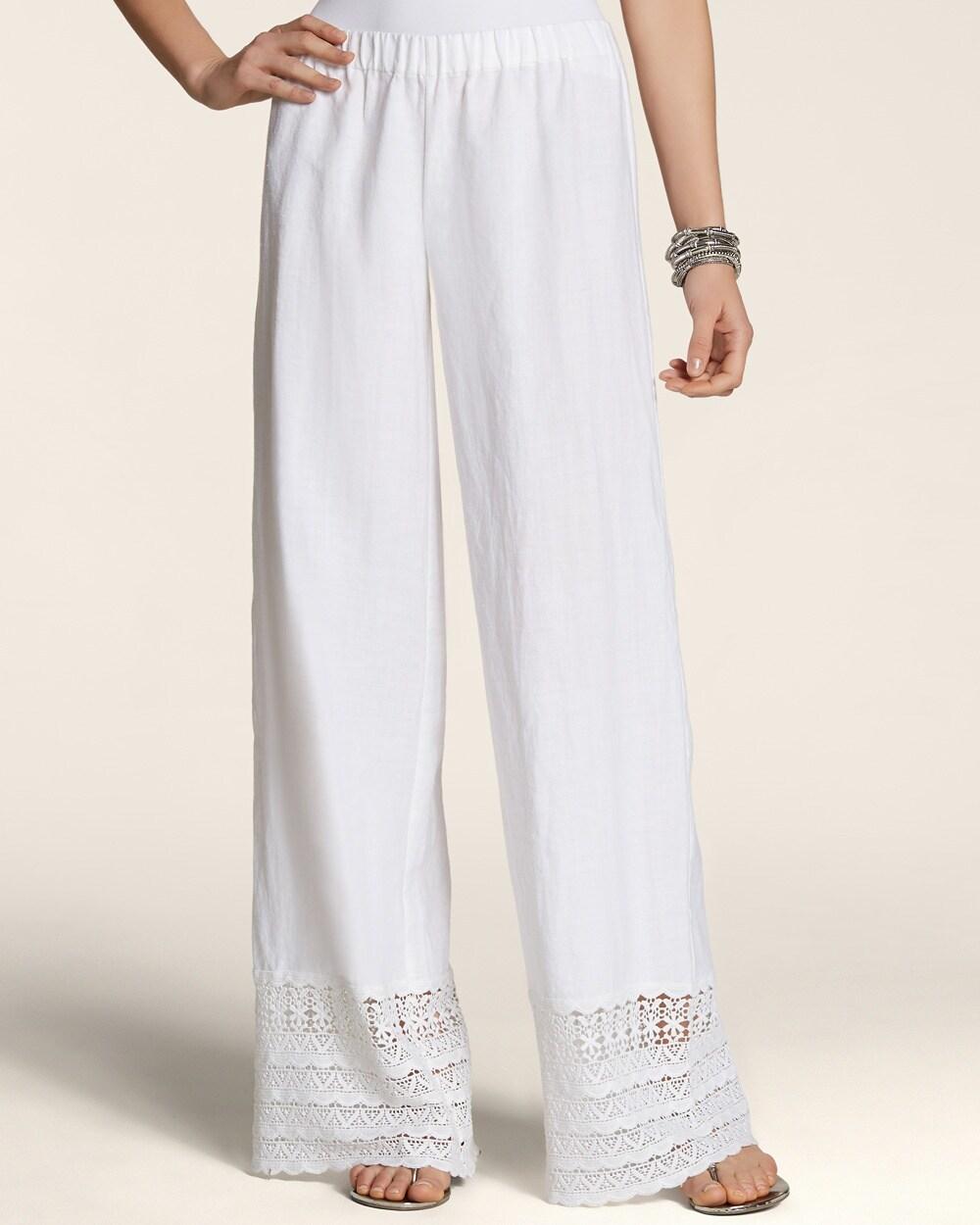 Crochet Hem Linen Pants - Chicos