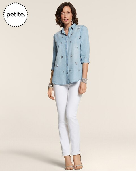 Petite All Over Glitz Denim Doni Shirt