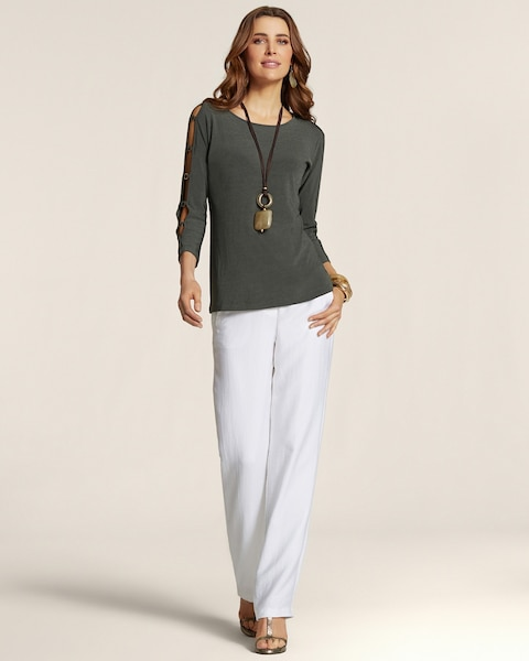Olive Cross Dye Ring Sleeve Top