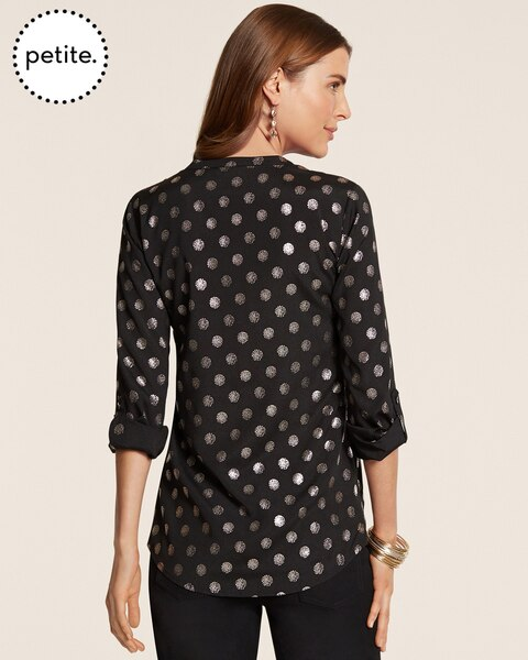 Petite Silver Dot Veronica Top