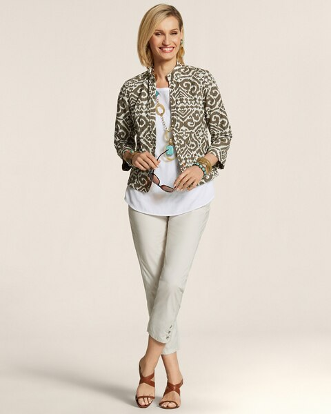 Modern Printed Open Front Jacket