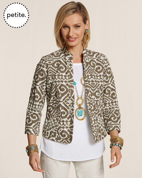 Petite Modern Printed Open Front Jacket