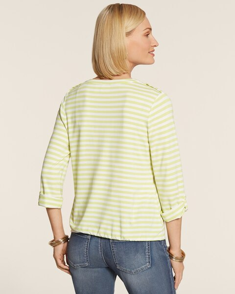 Even Stripe Toni Tie-Front Top