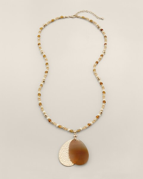 Naima Long Beaded Pendant Necklace