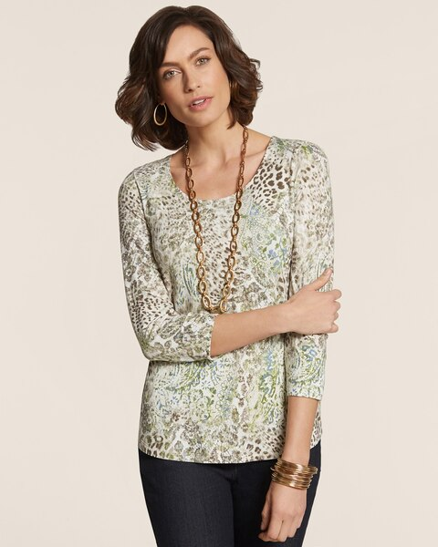Animal Lace Smooth Scoop Shirttail Top