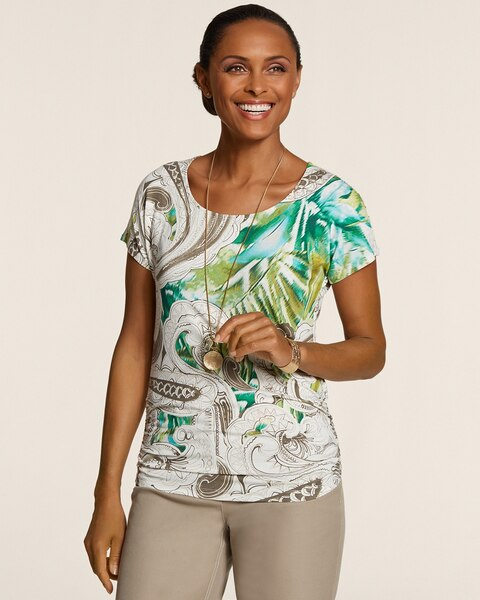 Bohemian Floral Shirred Simone Scoop Top