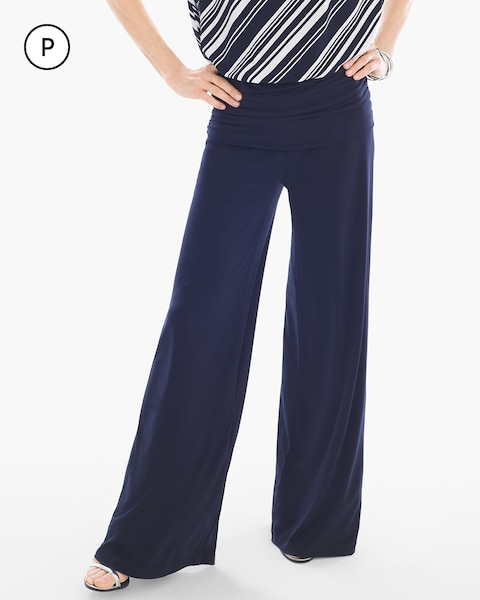 Go with the flow. Stride in style, and enjoy the comfort and flowy silhouette of these petite palazzo pants. The wide waistband and ruching detail lend further sophisticated elements so you can step out with confidence/5.