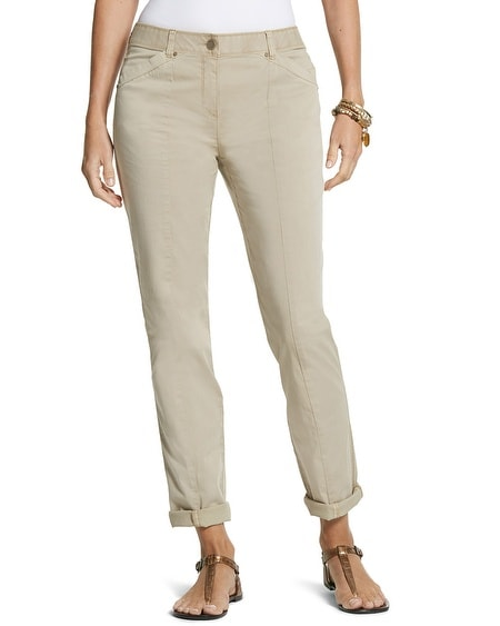 Casual Cotton Utility Ankle Pants