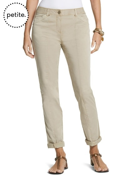 Petite Casual Cotton Utility Ankle Pant