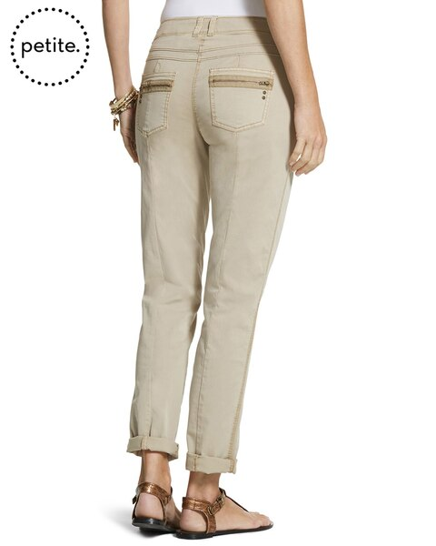 Petite Casual Cotton Utility Ankle Pants