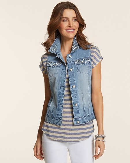 Pearl Embellished Denim Vest