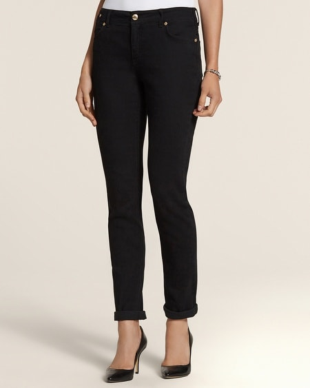 Pintuck Ankle Jeans in Black