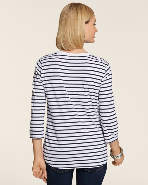 Wavy Sequin Stripe Heather Henley Top