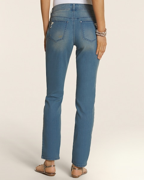 Platinum Denim Pearl Embellished Ankle Jean