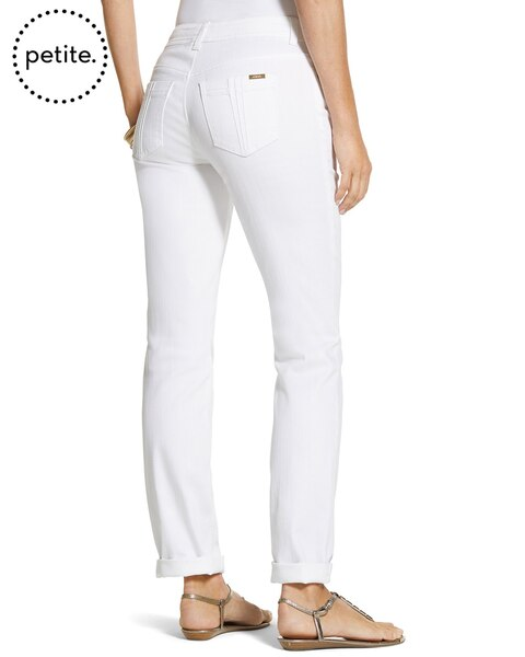 Petite So Slimming By Chico's Optic White Pintuck Ankle Jeans