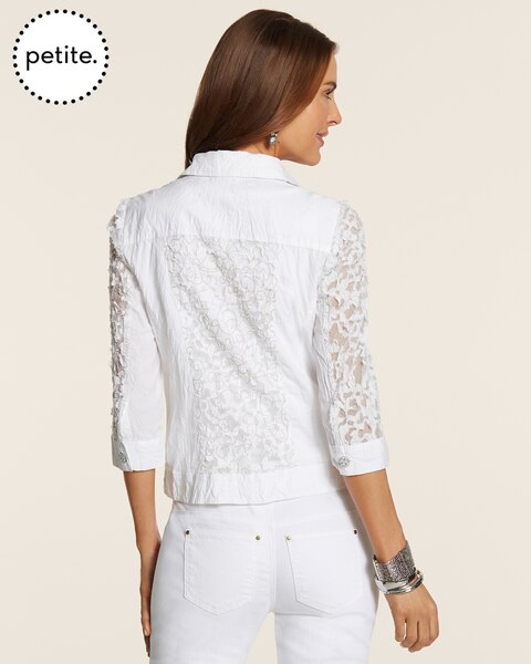 Petite Crinkle Lace Jeans Jacket