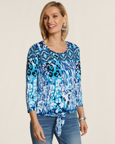 Blue Animal Wave Tina Tie-Front Top