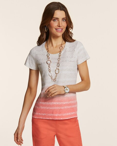 Ava Embellished Ombre Stripe Tee