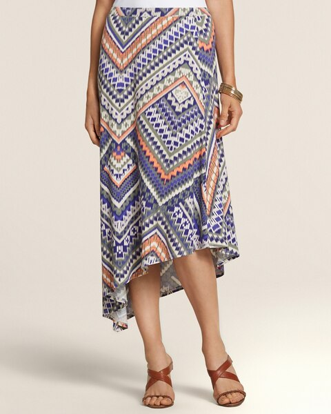 Tribal Ikat Asymmetrical Midi Skirt
