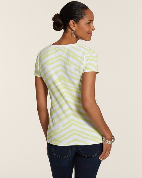 Becky Animal-Stripe Scoopneck Short-Sleeve Cotton Tee