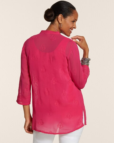 Rue Sheer Embroidered Tunic Top