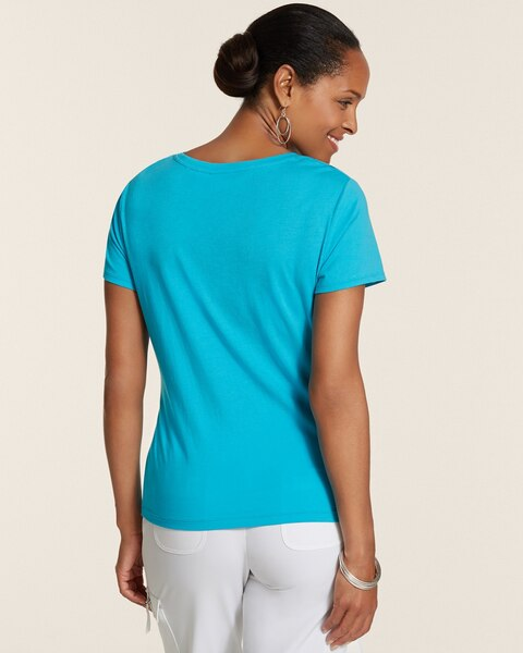 Baylee Tonal Foil Scoopneck Short-Sleeve Cotton Top