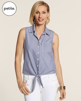 Petite Effortless Bryant Stripe Turi Tie-Front Top