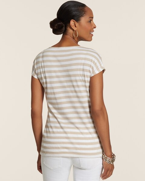 Simone Embroidered Striped Scoopneck Short-Sleeve Top