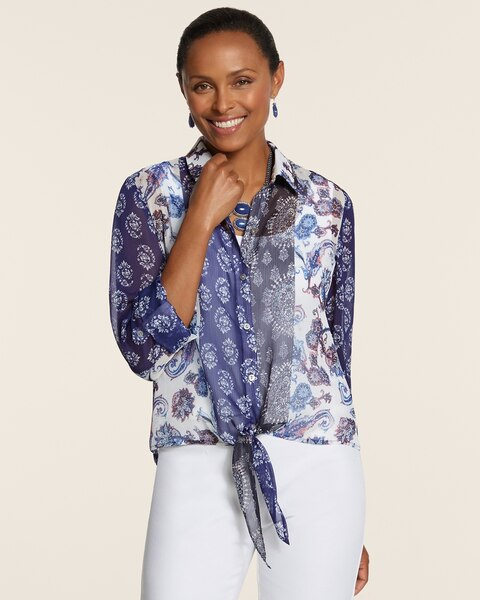 Patched Paisley Sheer Sloane Top