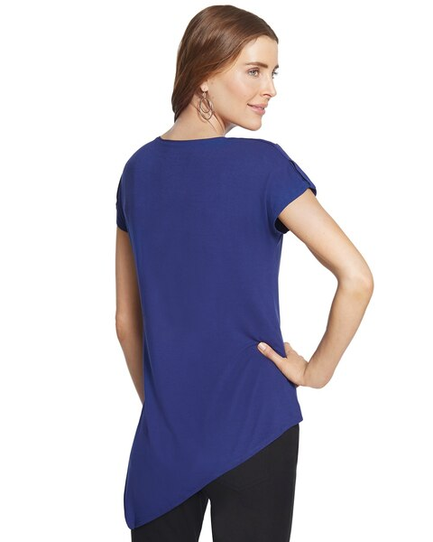 Arden V-Neck Asymmetrical-Hem Jersey Top