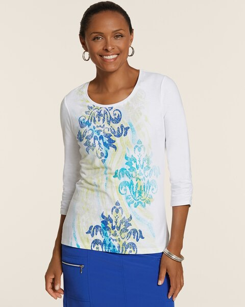 Brady Scoopneck Ruched-Sleeve Cotton Top