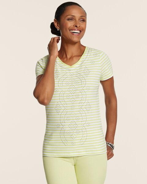 Bridgette Striped Cotton V-Neck Tee