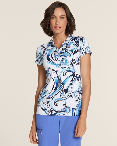 Watercolor Scroll Polo Top
