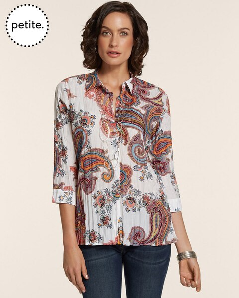 Petite Colorful Paisley Kimberlee Button-Up Top