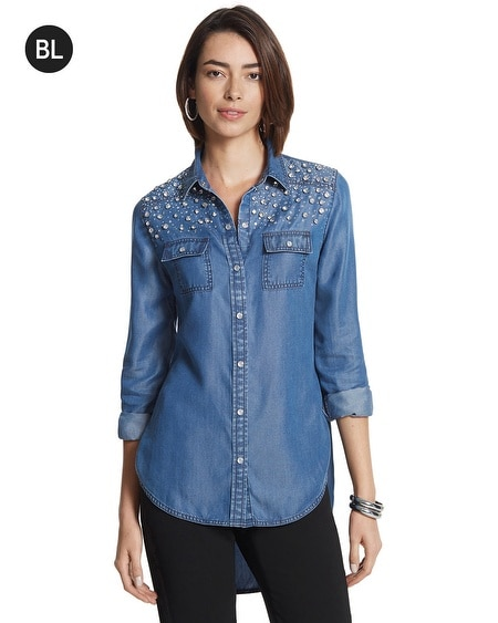 Black Label Embellished Denim Shirt