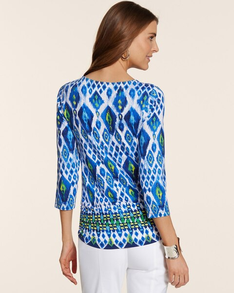 Seaside Ikat Shirred Simone top