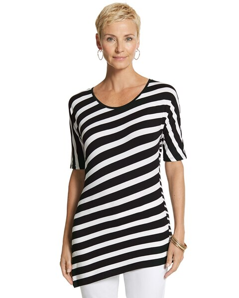 Clean Stripe Asymmetrical Hem Top