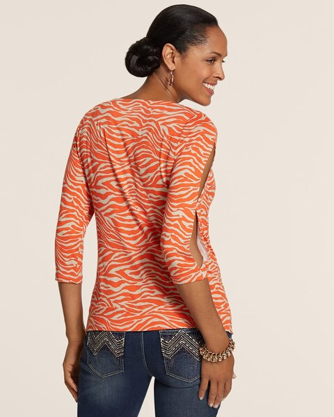 Orange Zebra Georgia Cold Shoulder Top
