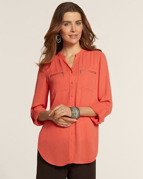 Zip Pocket Button-Up Campbell Blouse