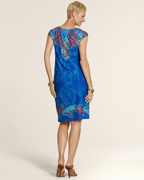 Paisley Print Rouched Notch Dress