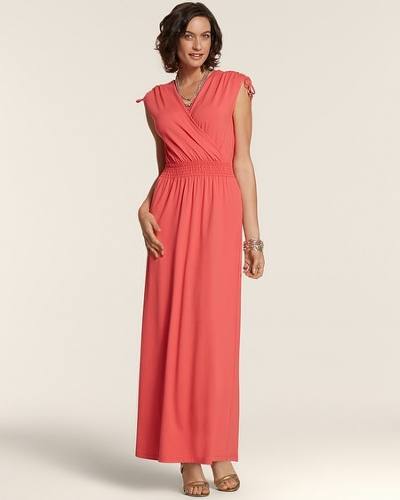 Surplice Shoulder Detail Jersey Maxi Dress
