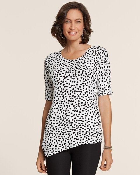 Dot Delight Ali Asymmetrical Hem Top