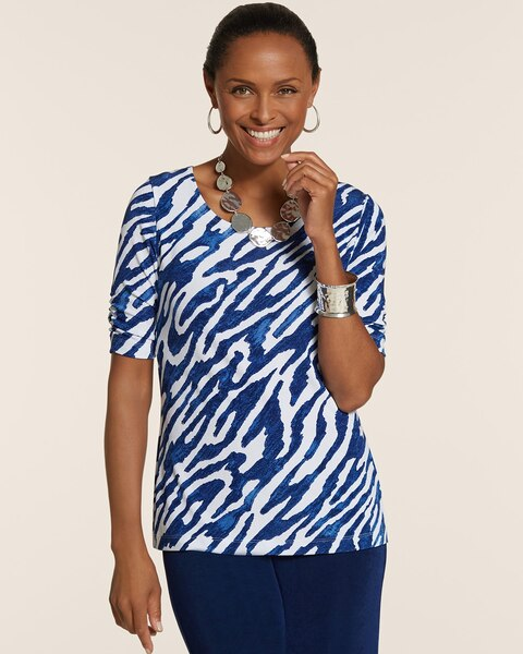 Pavlova Ruched-Sleeve Print Top