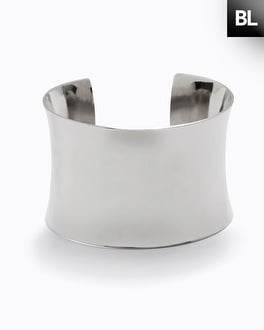 Black Label Smooth Shiny Silver Cuff